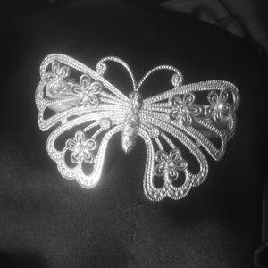 Metal silver tone butterfly barrette